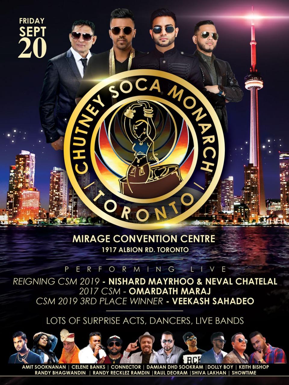 Chutney Soca Monarch Toronto 2019 Finalists